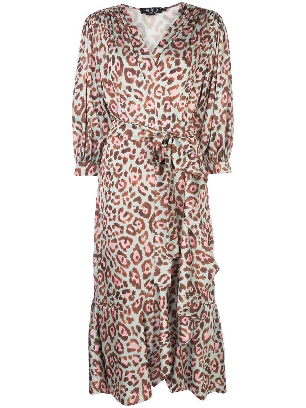 Leopard Print Midi Wrap Dress Item # VES2489US