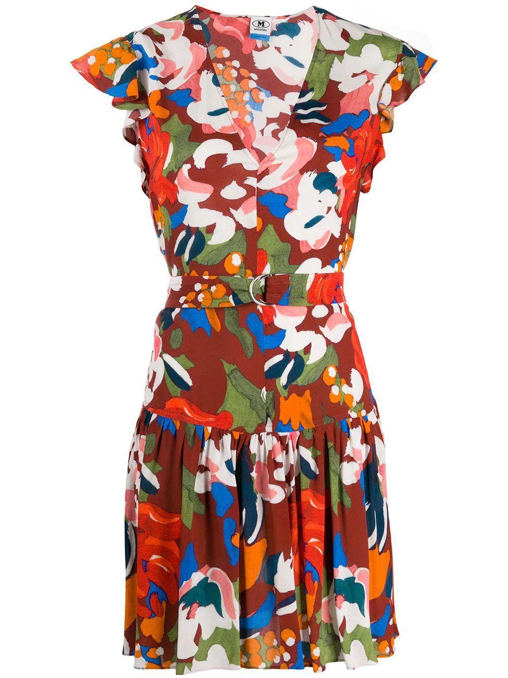 V-Neck Printed Short Dress With Belt