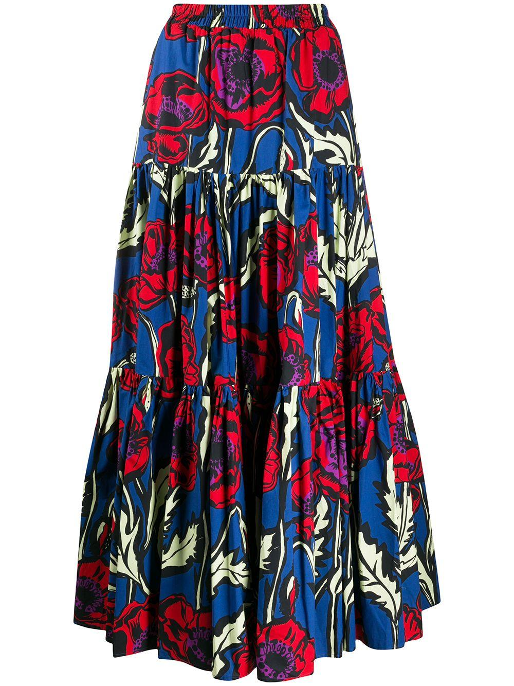 Printed Cotton Tiered Maxi Skirt