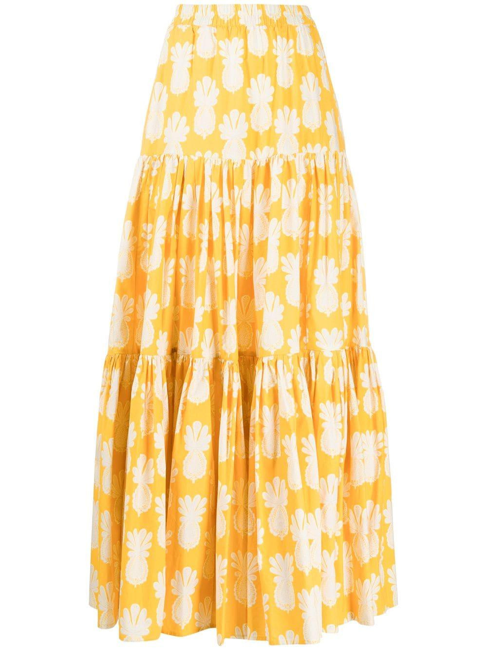Printed Cotton Tiered Maxi Skirt Item # SKI0001-COT001-S20