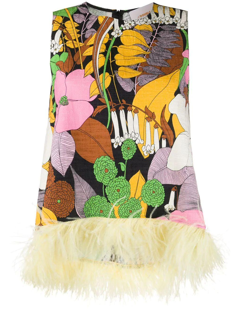 LA Scala Sleeveless Printed Top With Feathers