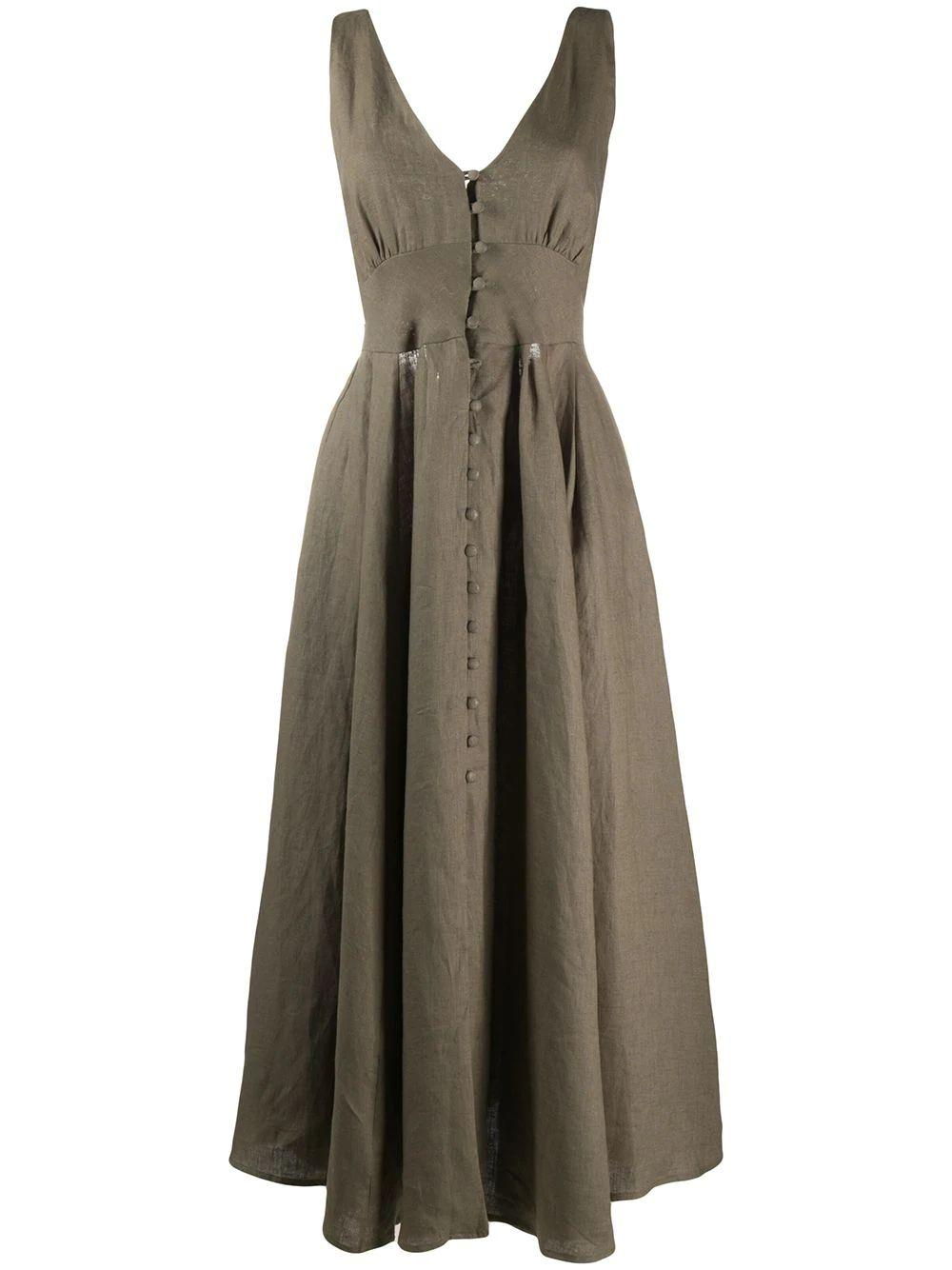 Angela Long Linen Dress With Back Buckle Item # 50060L14