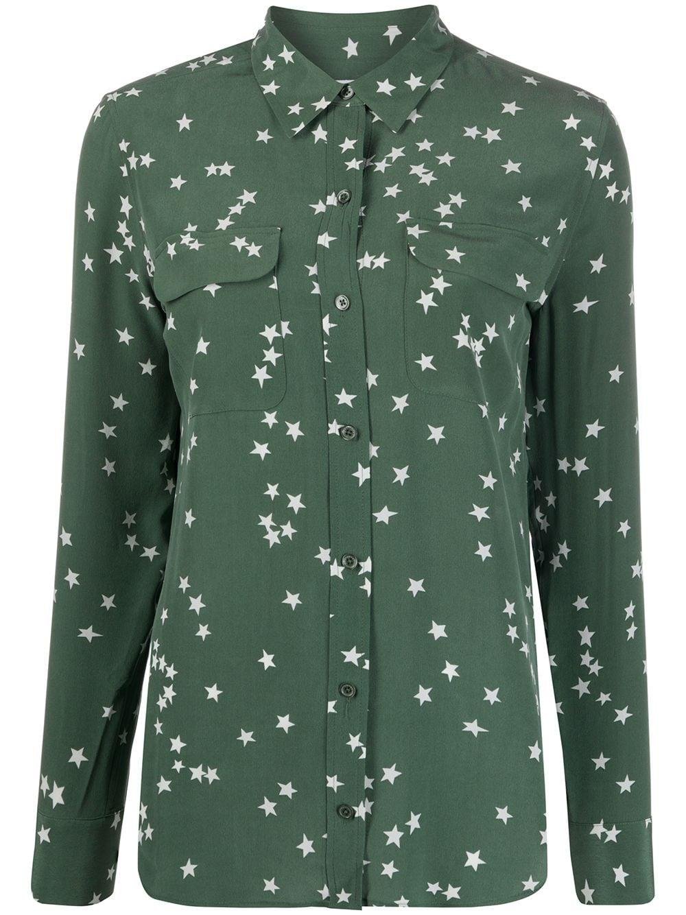 Slim Signature Star Button Down Blouse