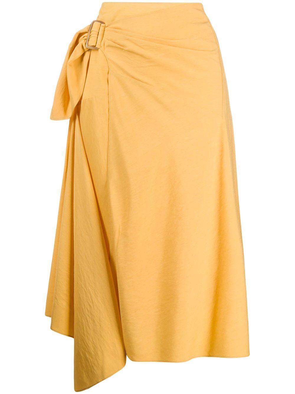 Side Buckle Drape Midi Skirt Item # V650630580