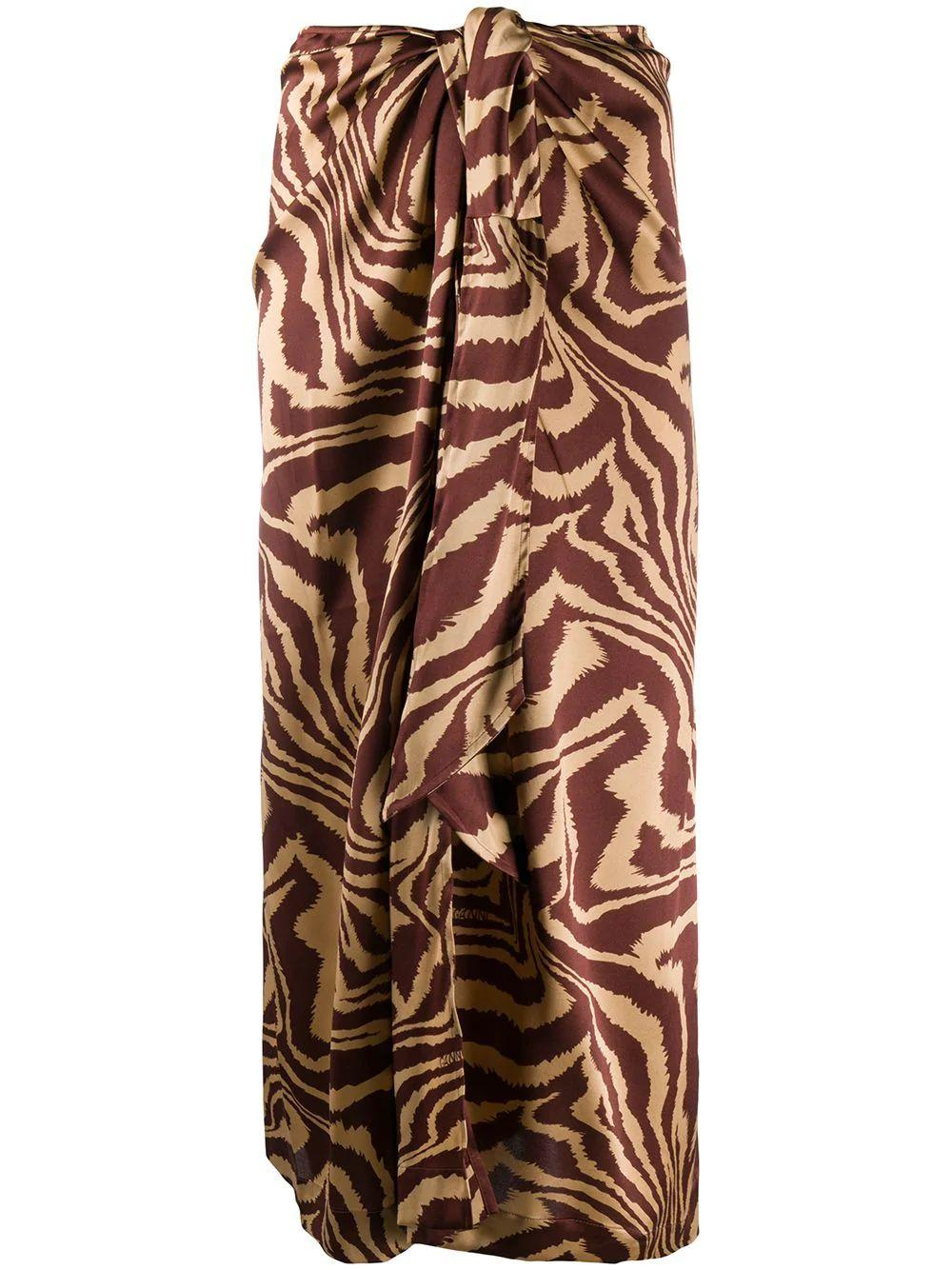 Silk Stretch Satin Zebra Midi Skirt Item # F4657
