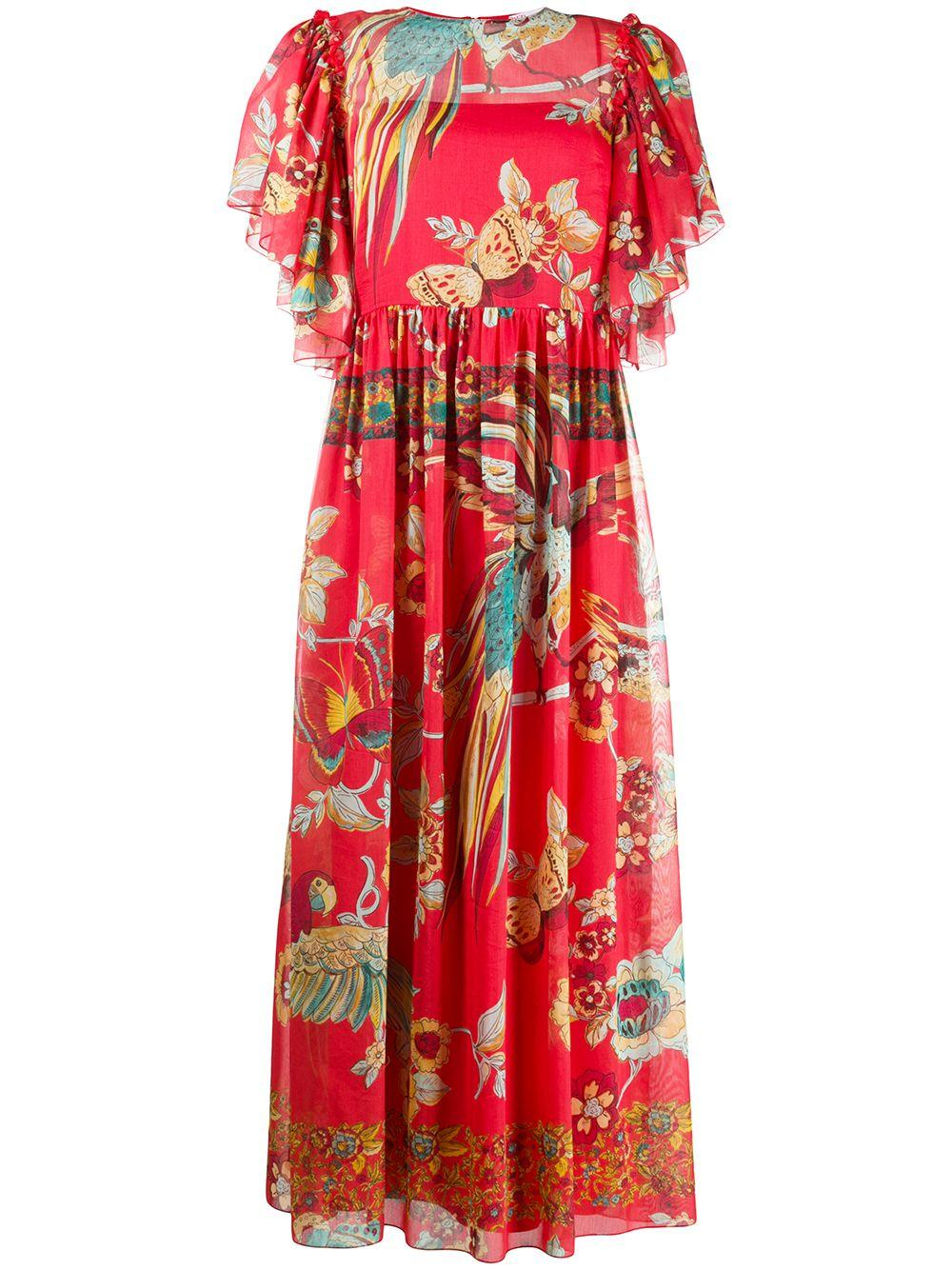 Bird Of Paradise Print Midi Dress Item # TR0VAP65503