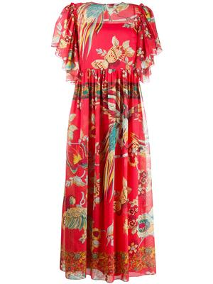 Bird Of Paradise Print Midi Dress