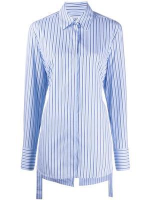 Long Sleeve Stripe Open Back Blouse