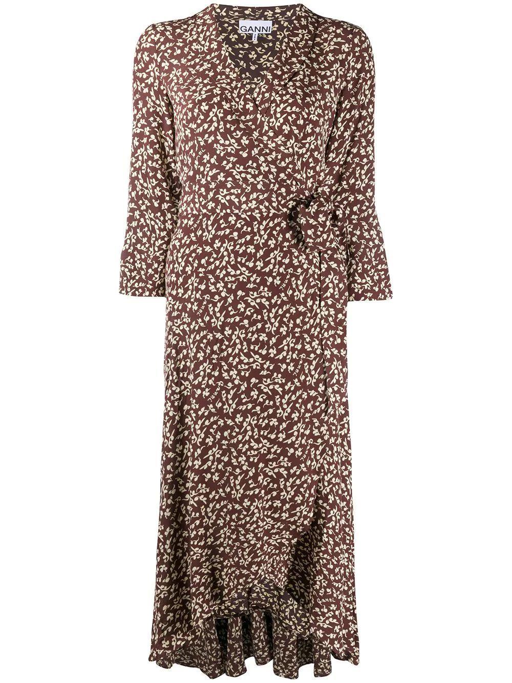 Printed Crepe Wrap Dress Item # F4488
