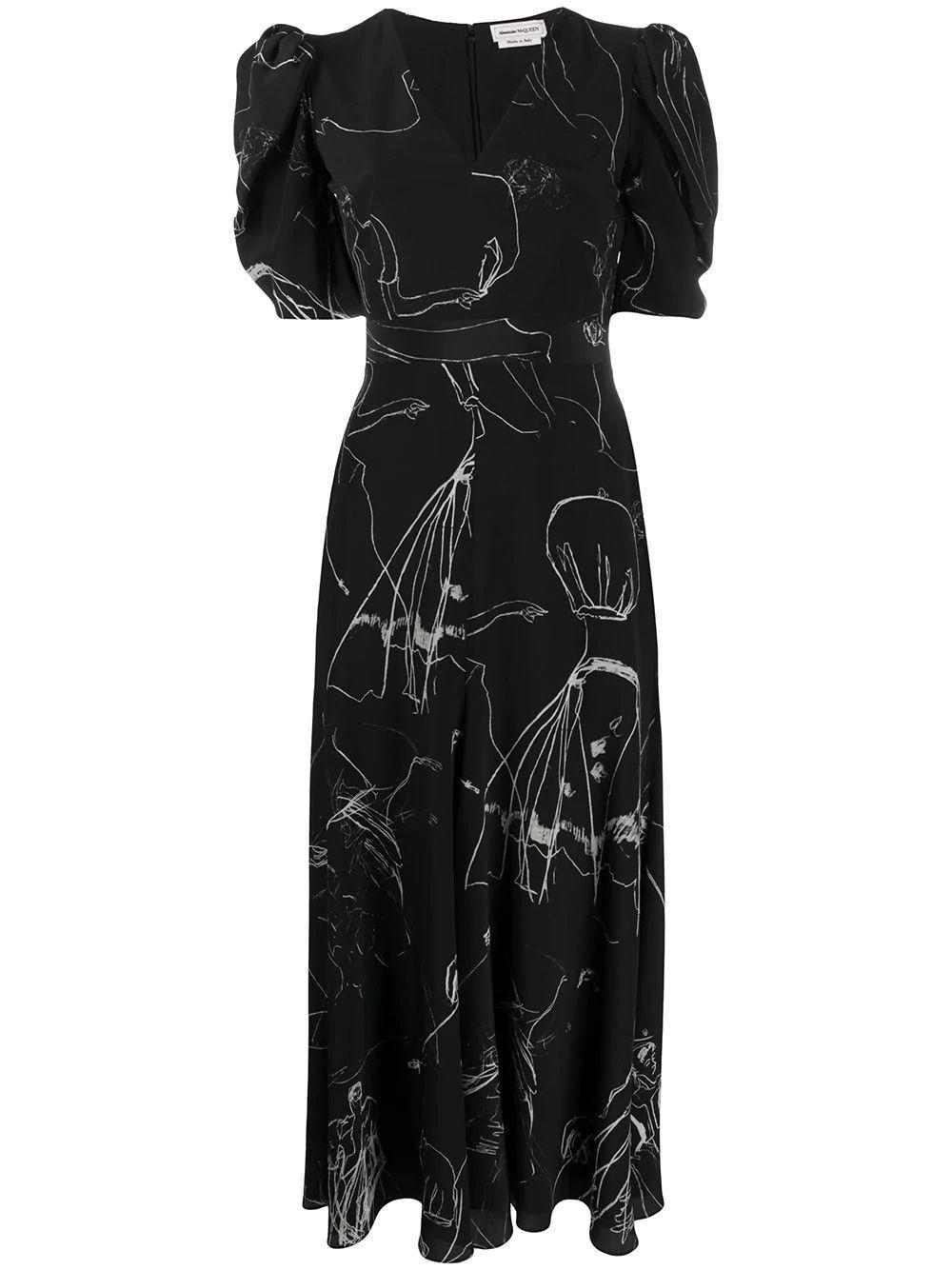 V-Neck Puff Sleeve Print Midi Dress