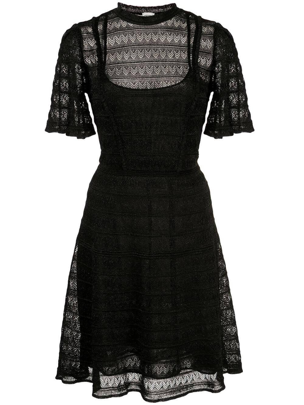 Short Sleeve Short Lurex Dress