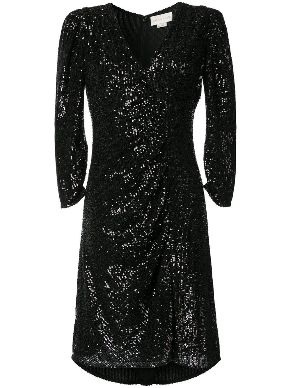 Kayla V-Neck Puff Sleeve Sequin Dress