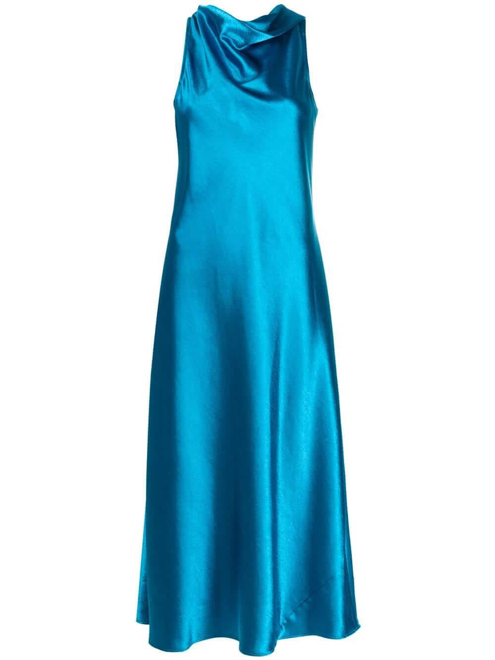 Andy Glossy Satin Cowl Neck Dress