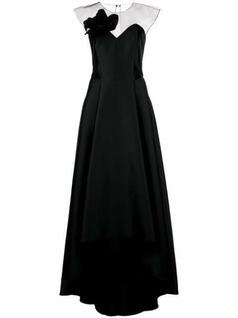 Blakely Cap Sleeve Gown With Mesh Top