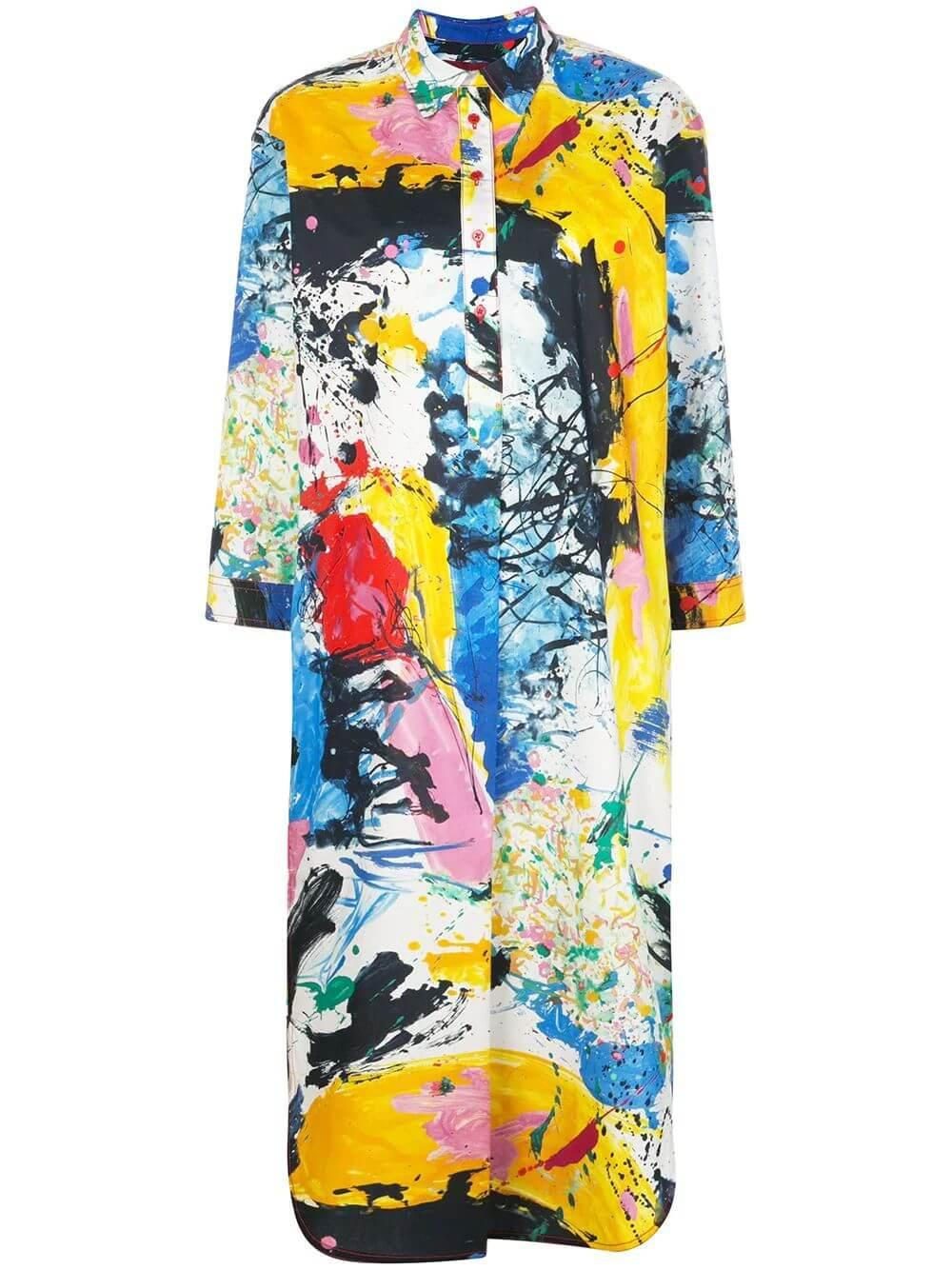 Ina Long Sleeve Printed Cotton Shirt Dress