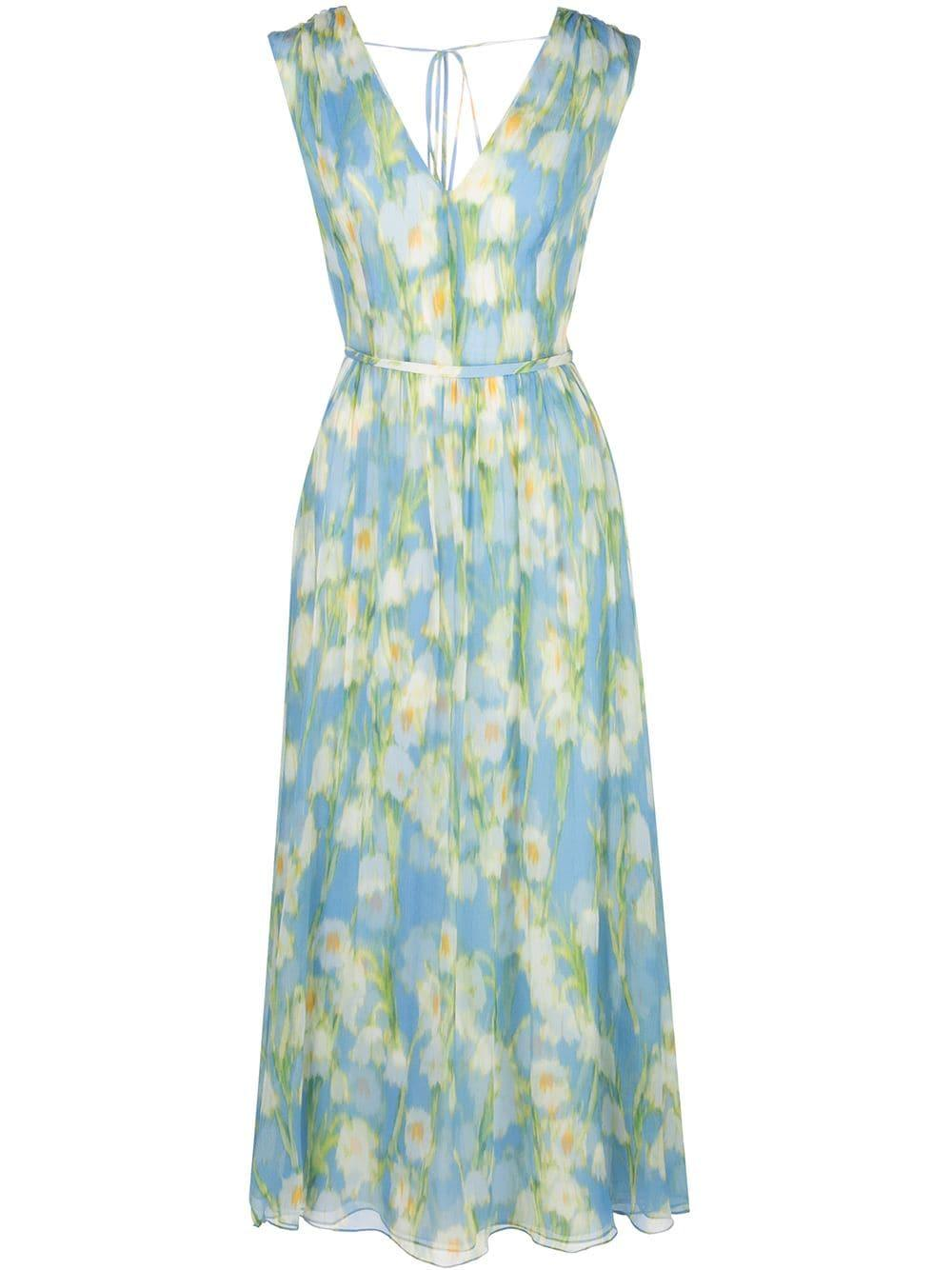 Sleeveless V-Neck Lilly Of The Valley Midi Dress