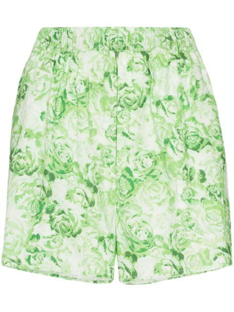 Rose Printed Cotton Poplin Short