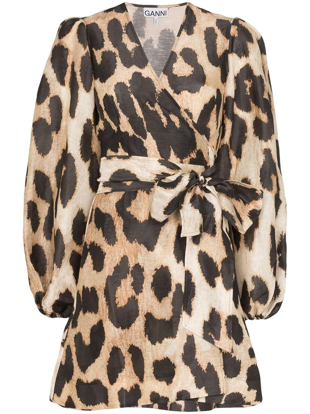Silk Linen Leopard Print Wrap Dress