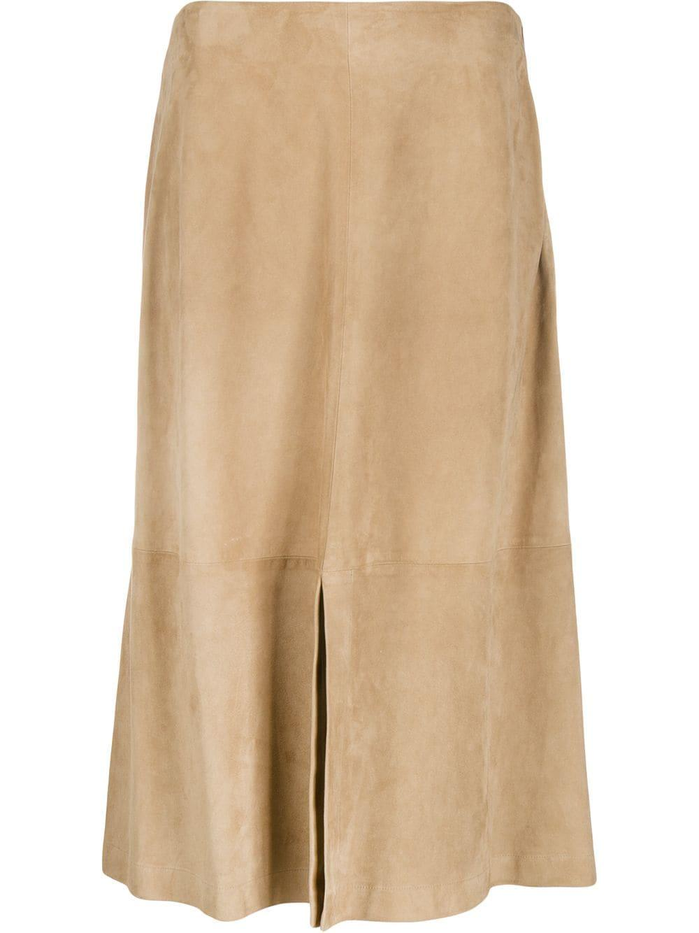 Suede Skirt With Front Slit Item # PLD270B917