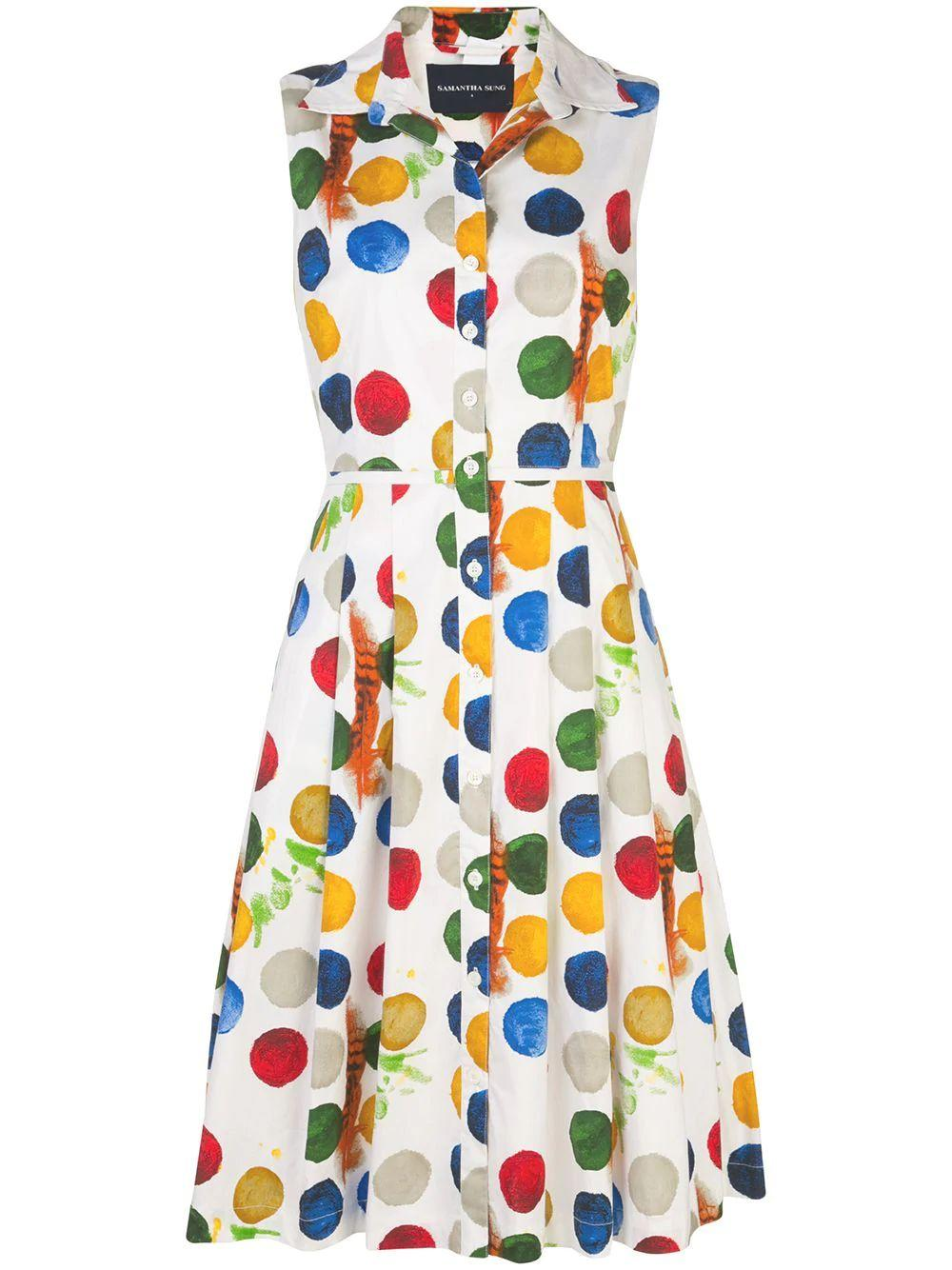 Impressionist Dots Sleeveless Cotton Dress