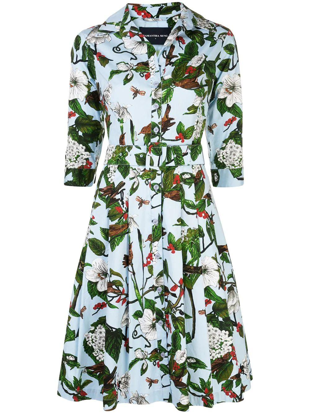 Hibiscus And Bird 3/4 Sleeve Cotton Dress
