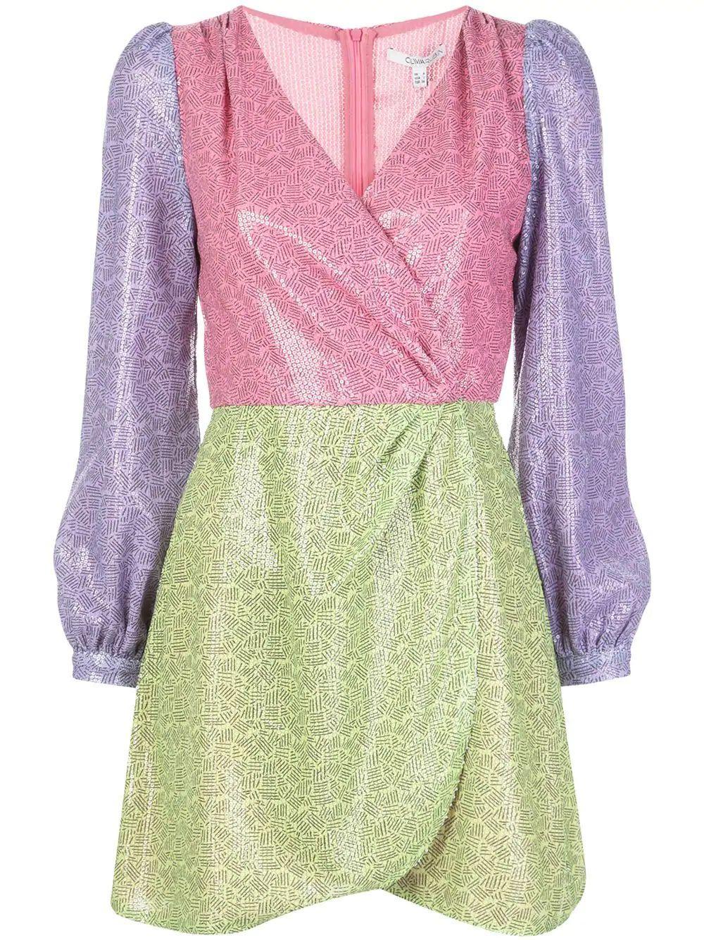 Meg Mix Print Faux Wrap Mini Dress Item # OR0266