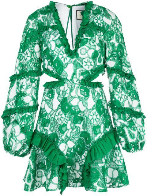 Imetta V- Neck Cutout Ruffle Mini Dress Item # A1200328-6125