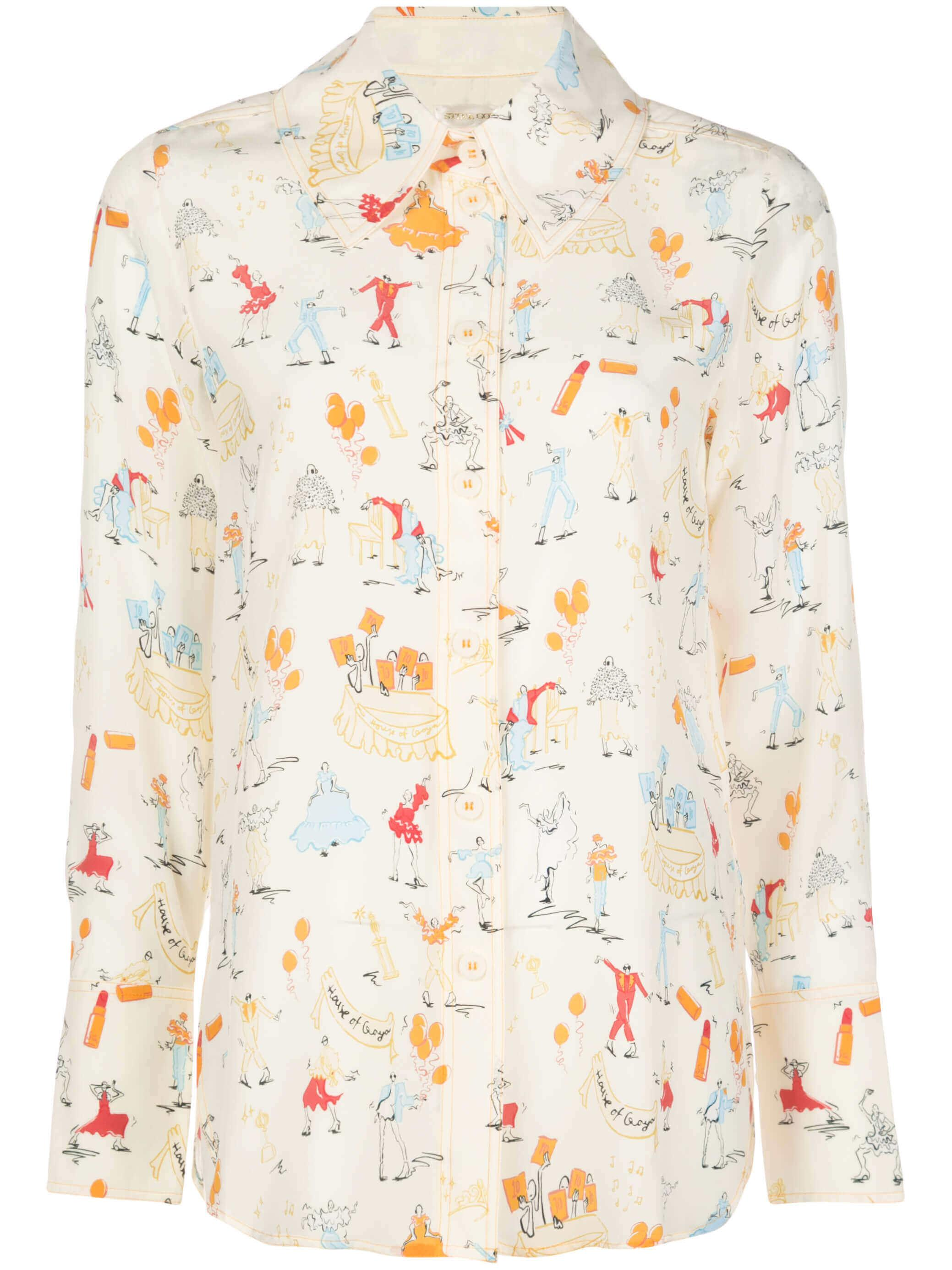 James Dancer Print Silk Button Down