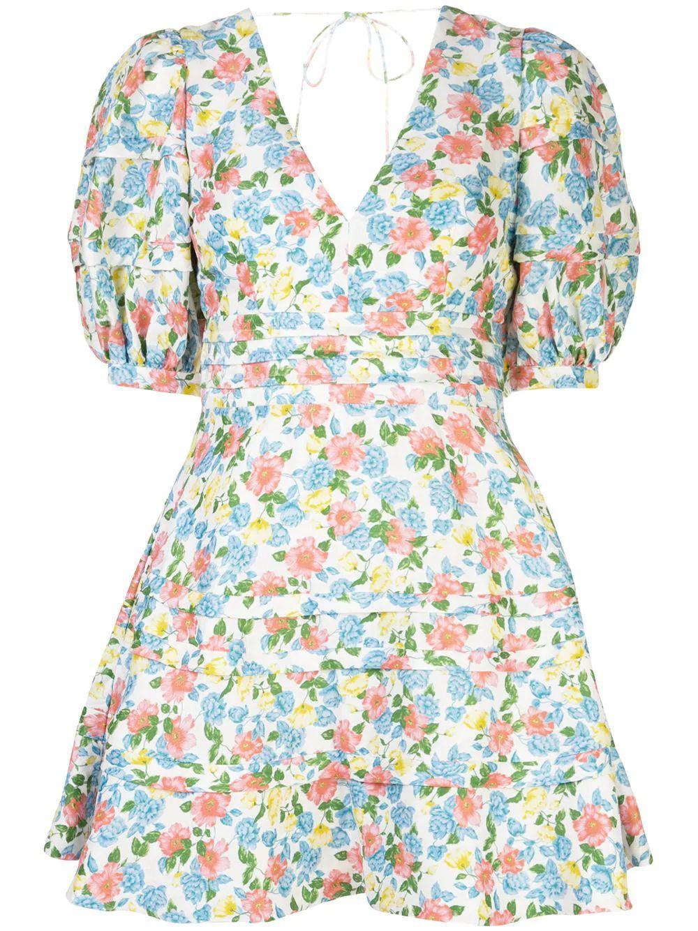 Avian Floral Print Mini Dress