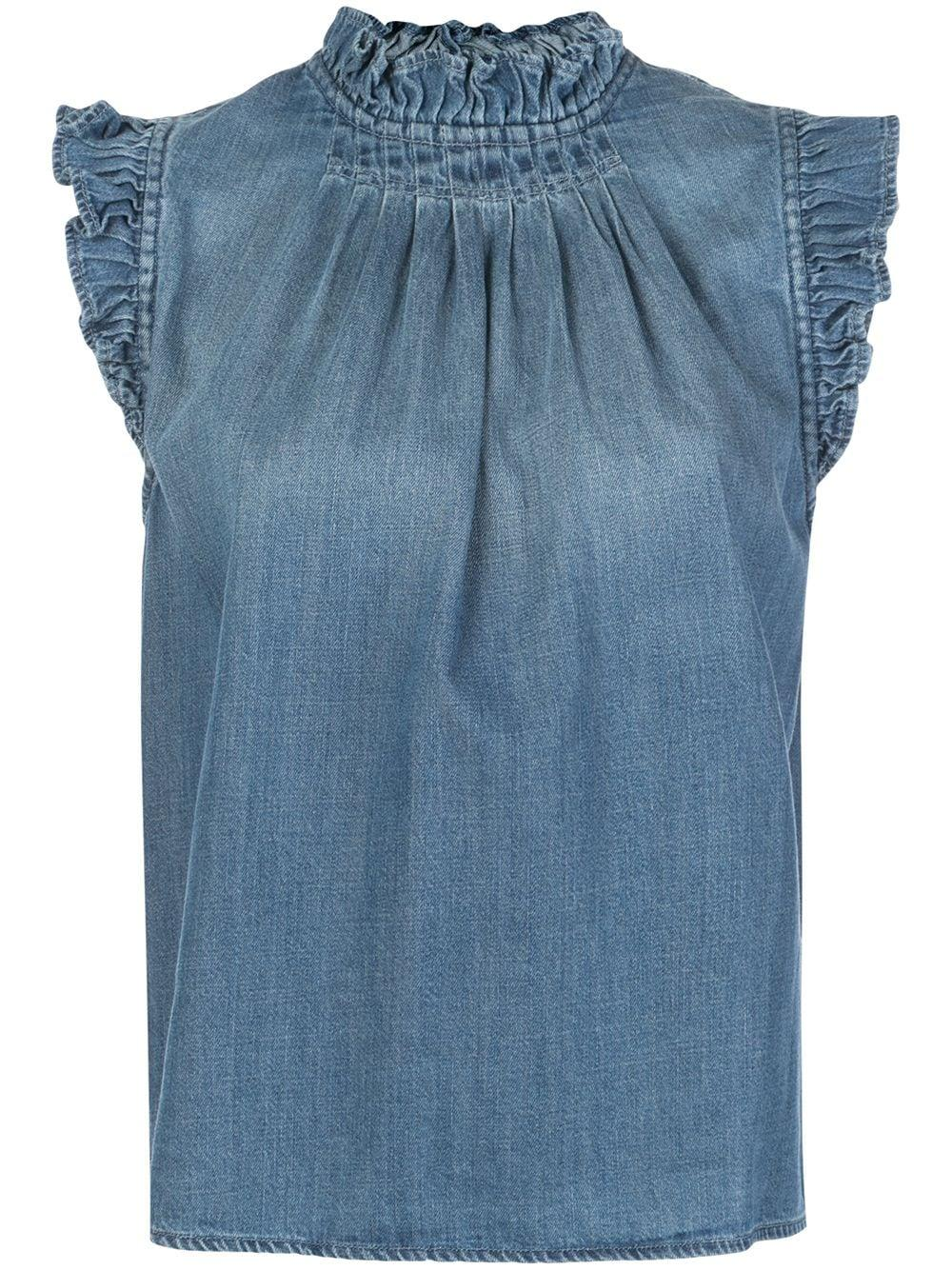 Ruffle Denim Sleeveless Top