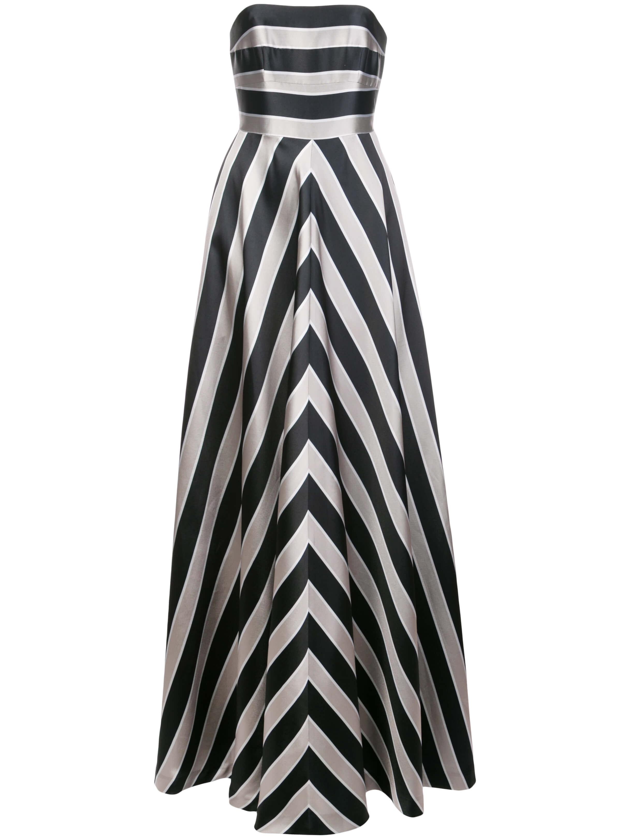Strapless Stripe Structure Gown