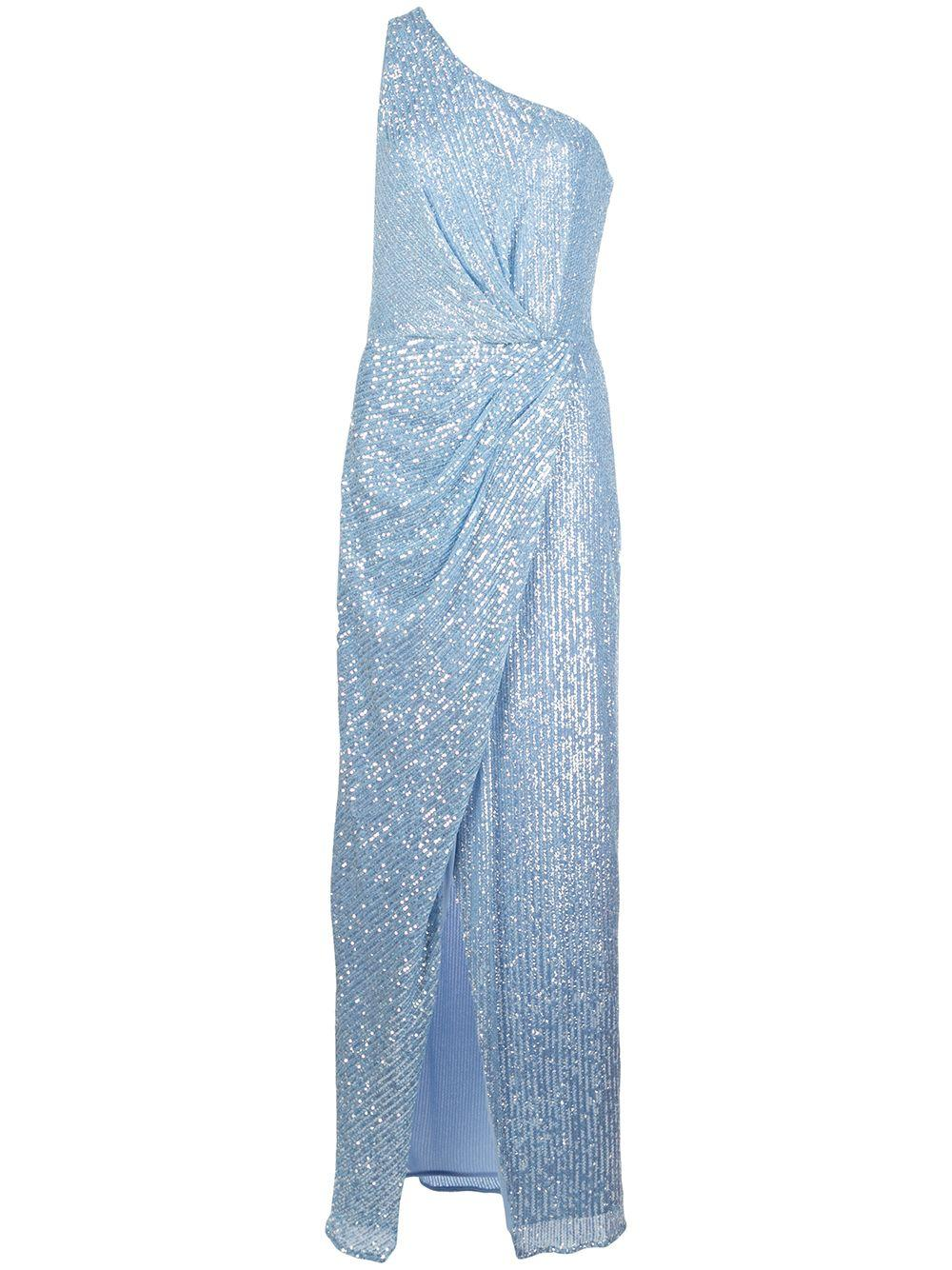 Aurora Crystal Sequin One Shoulder Gown