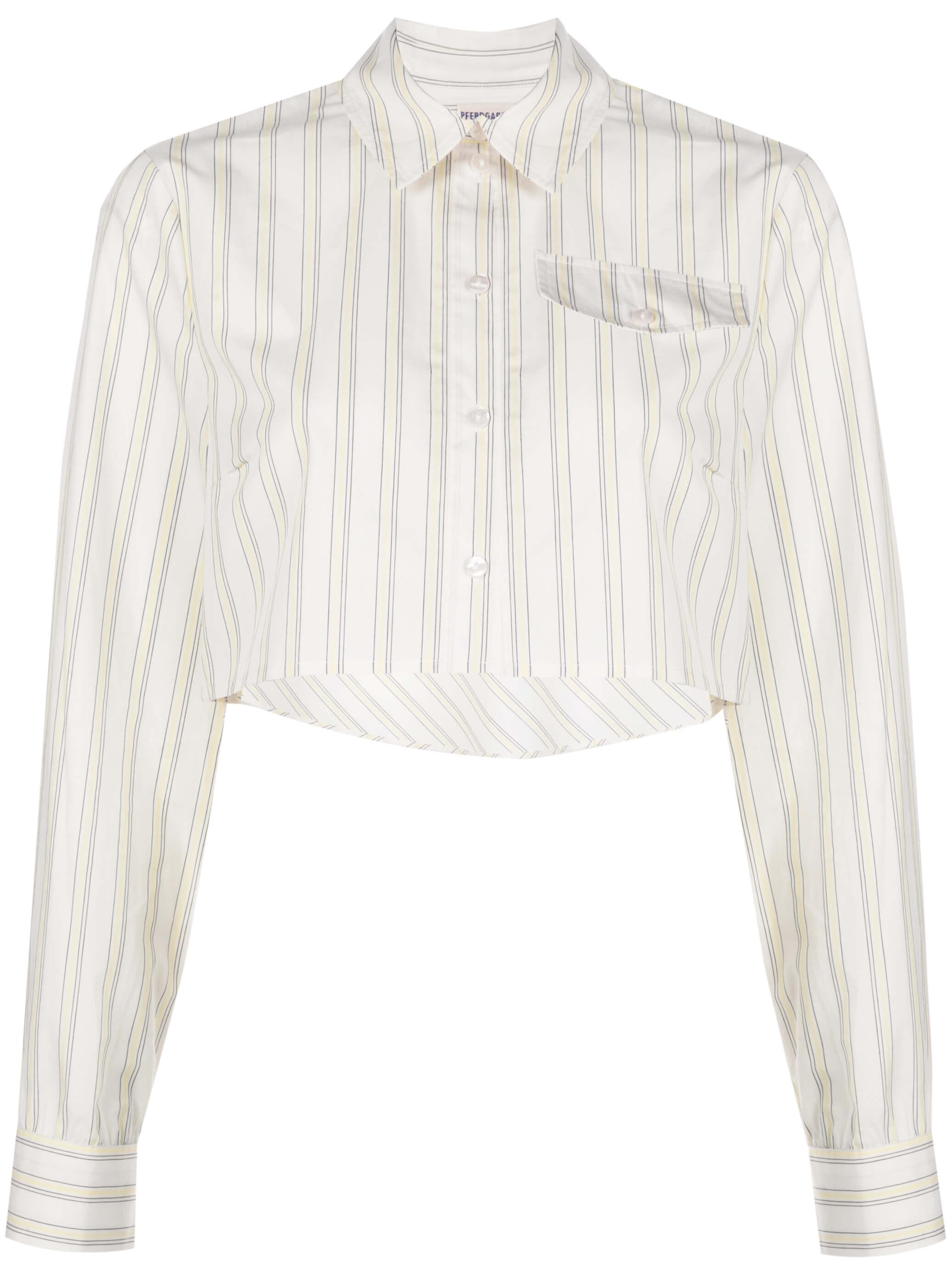 Mayuri Cream Stripe Cropped Button Down