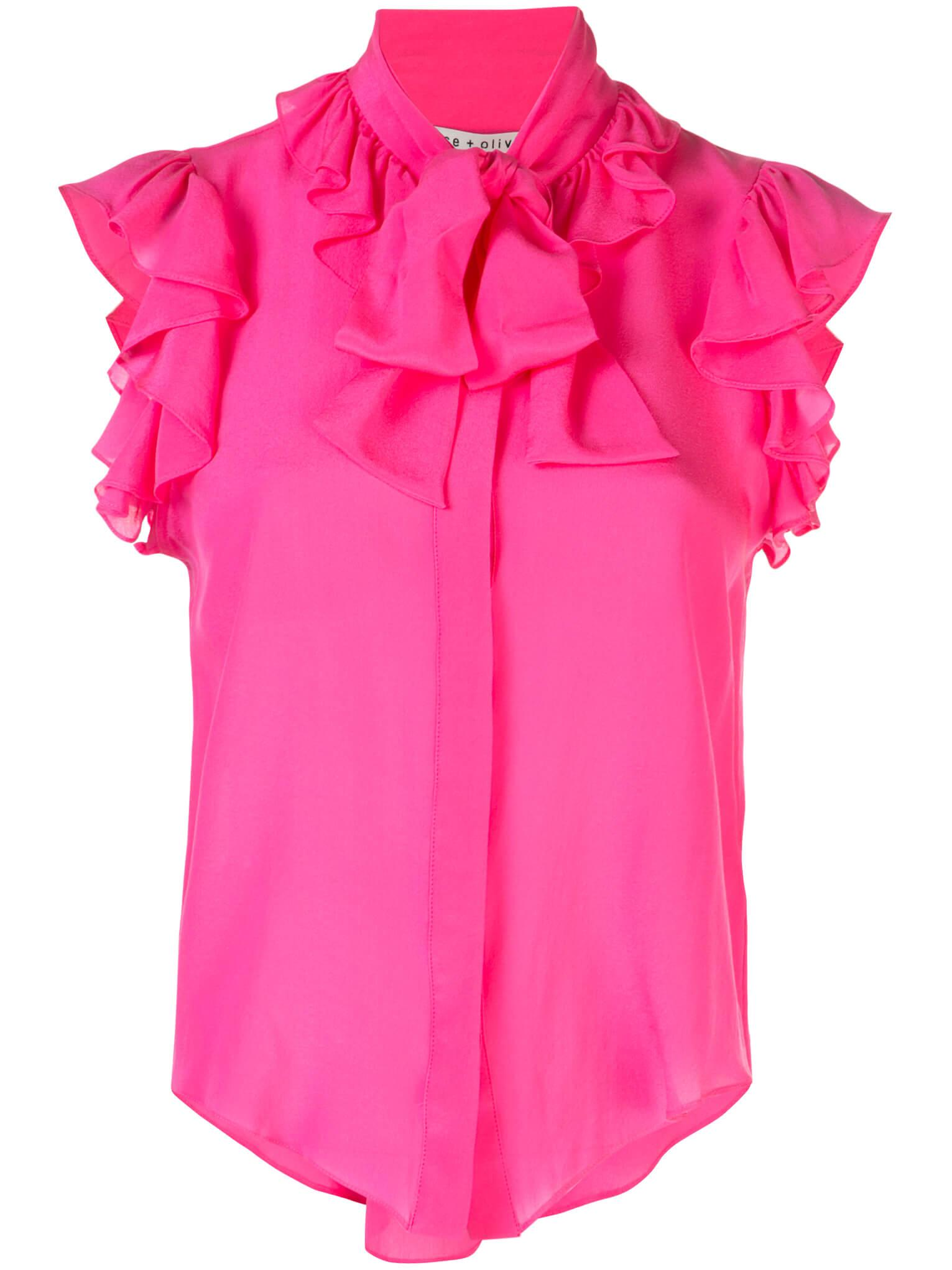 Robbie Bow Collar Ruffle Blouse