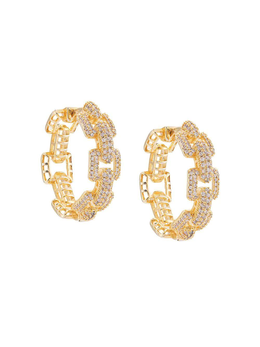 Square Link Pave Hoop Earring