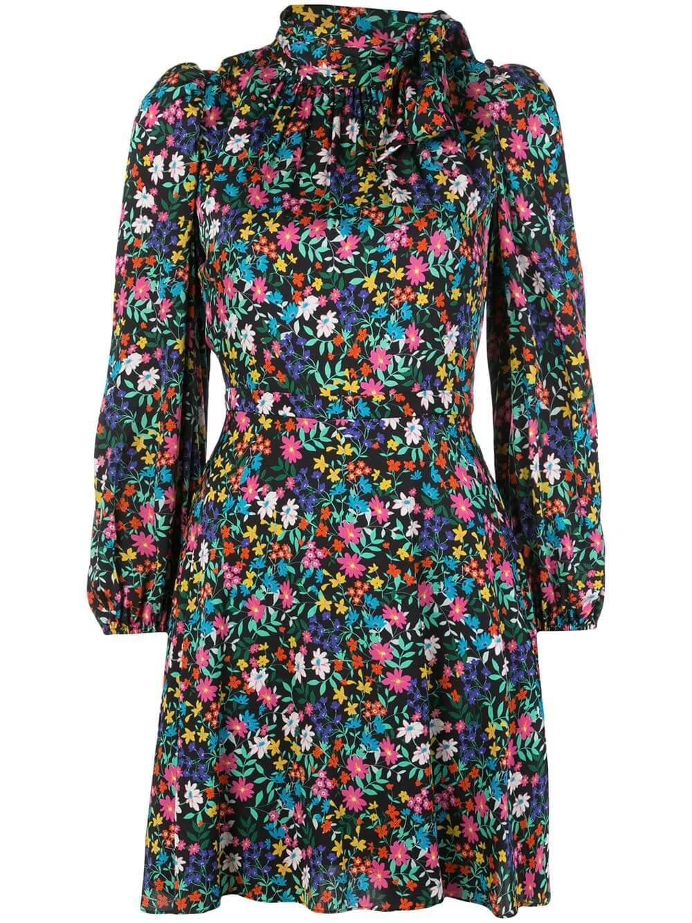 Garden Floral Stretch Silk Adele Dress Item # 24AD05