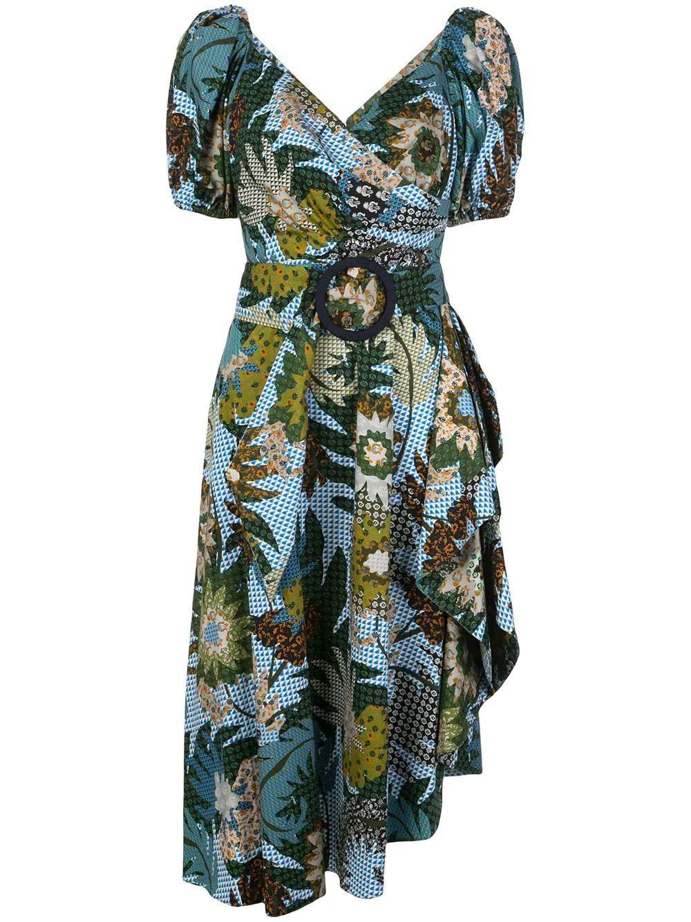 Liv Blouson Sleeve Side Ruffle Midi Dress Item # S01D02