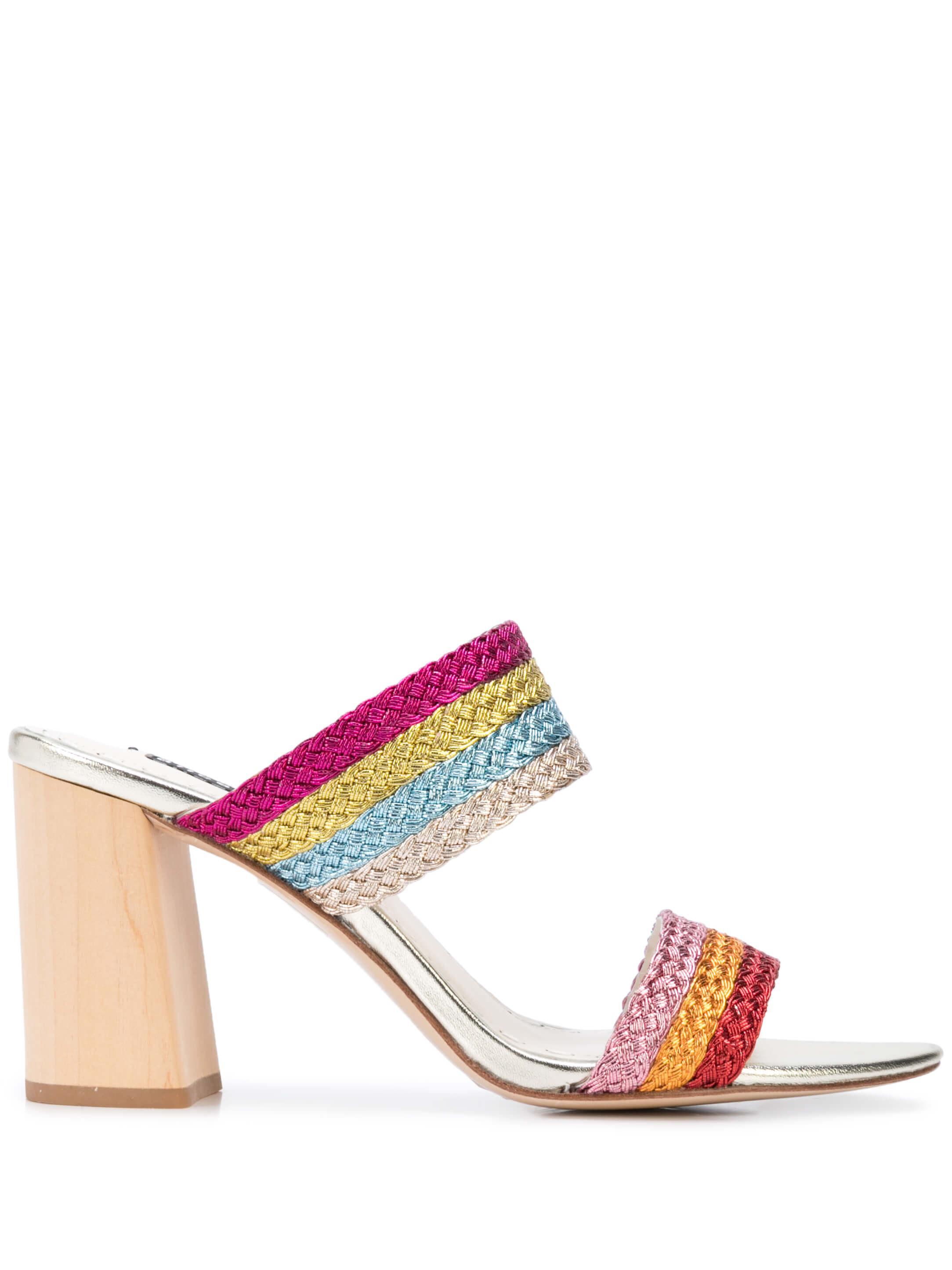 Multicolor Two Strap Block Heel
