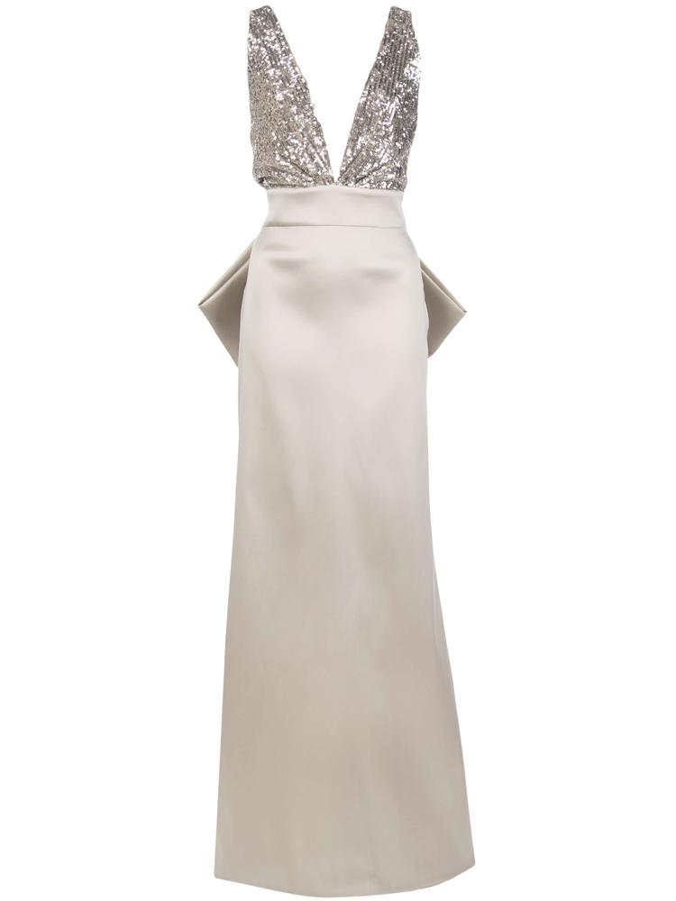 Sloane Sequin Top V-Neck Gown With Bow