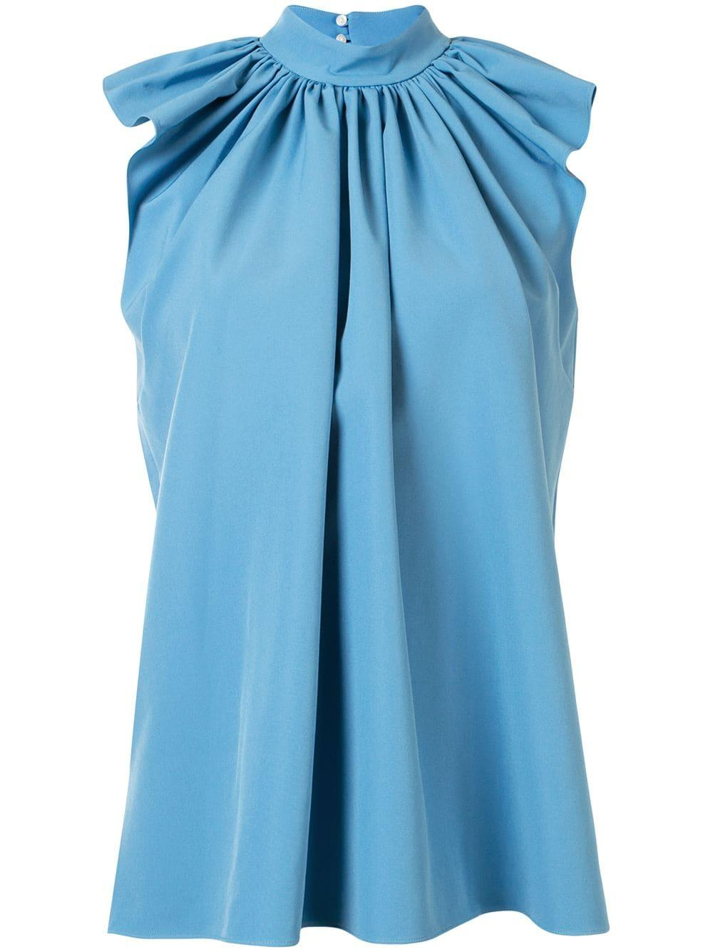 Sleeveless Ruched Shoulder Top