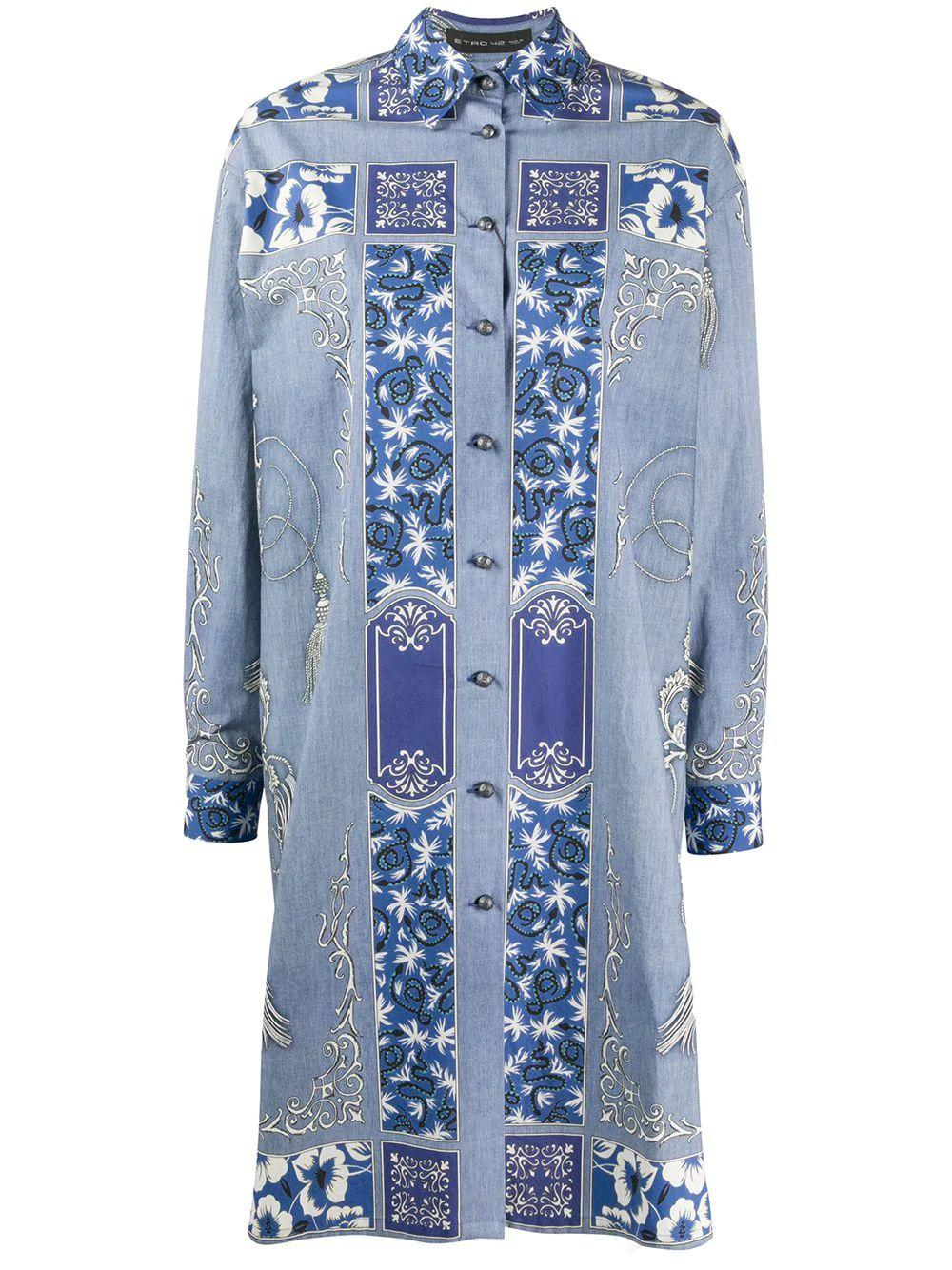 Long Sleeve Paisley Shirt Dress