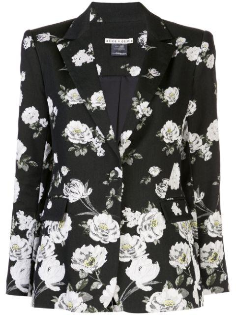 Macey Floral Print Notch Collar Blazer