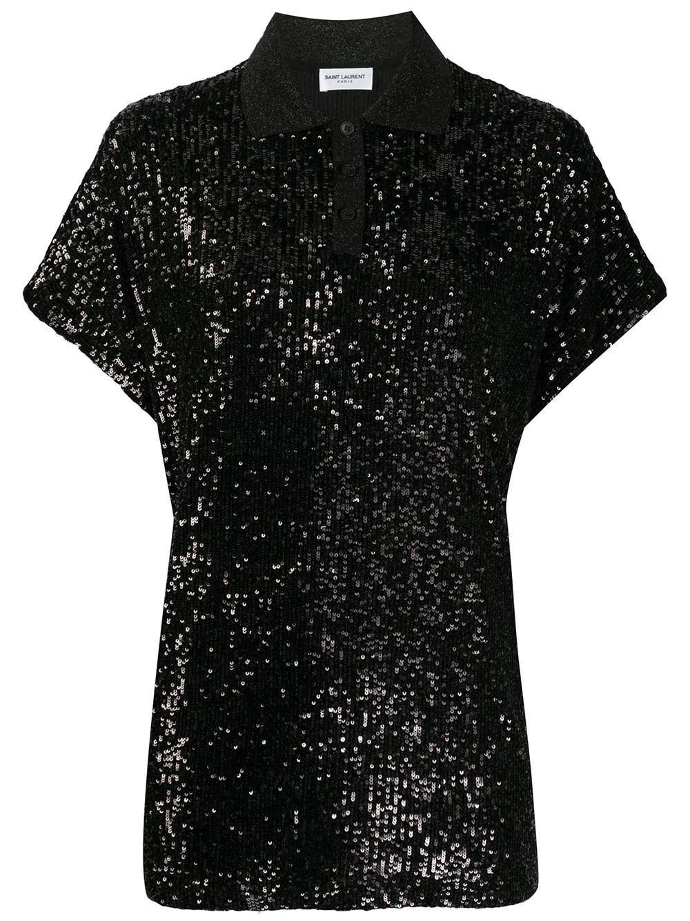 Sequined Jersey Polo
