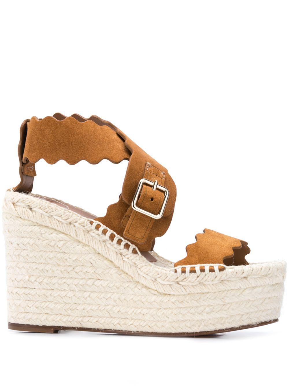 Lauren Suede 50mm Platform Espadrille Sandal Item # CHC19U19318243