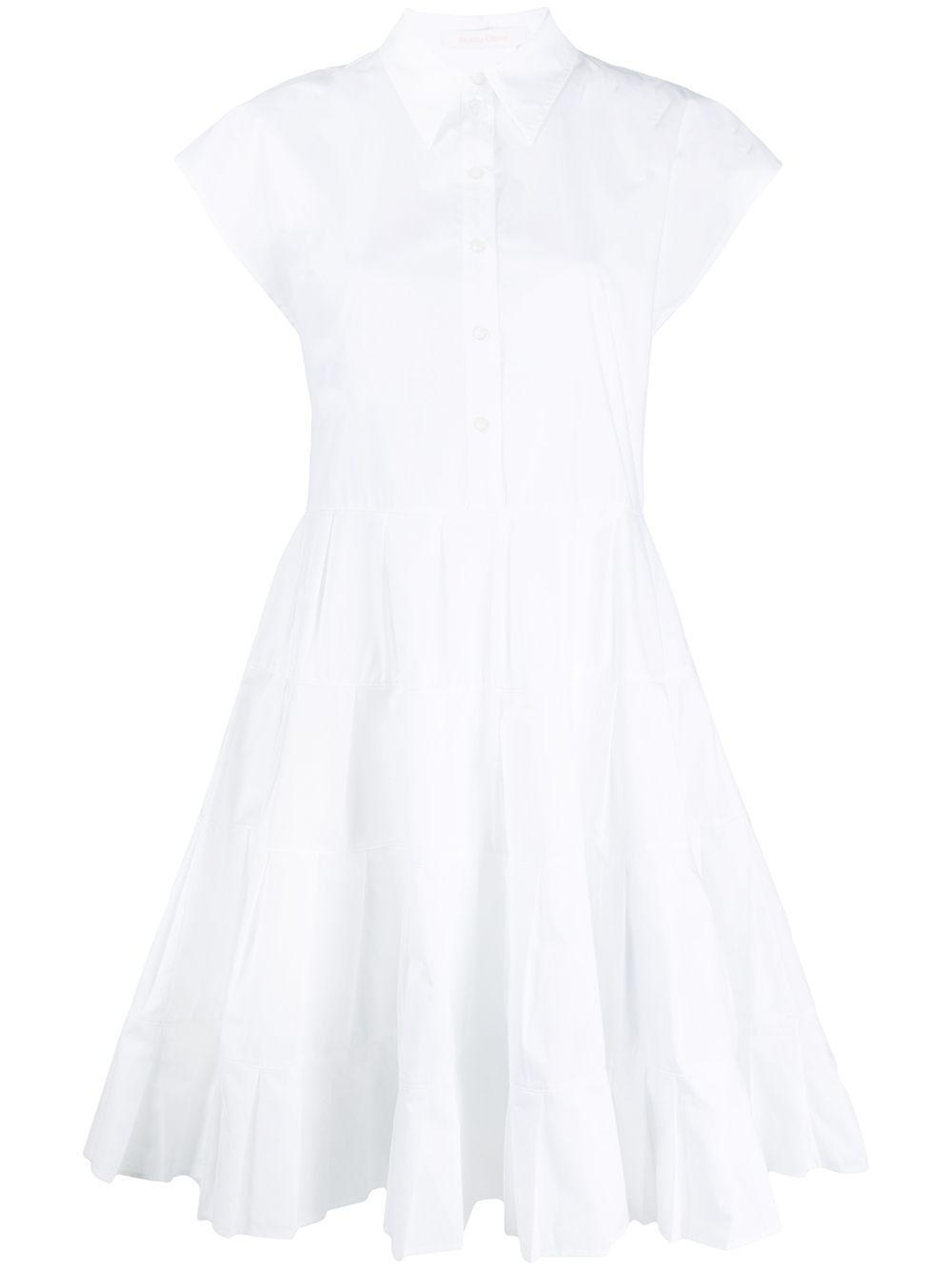 Topstitched Poplin Midi Shirt Dress