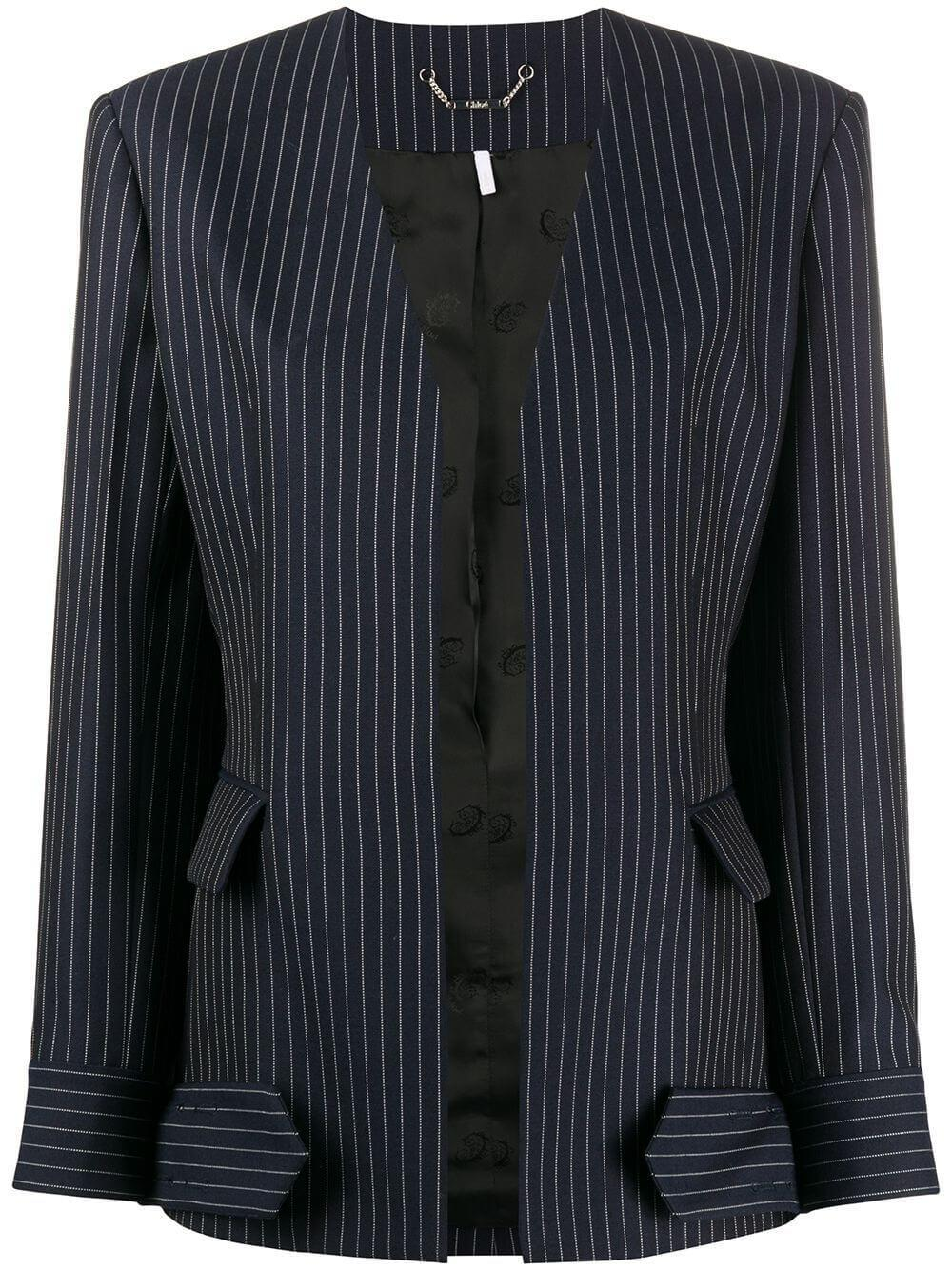 Summer Pinstripe Wool Collarless Jacket