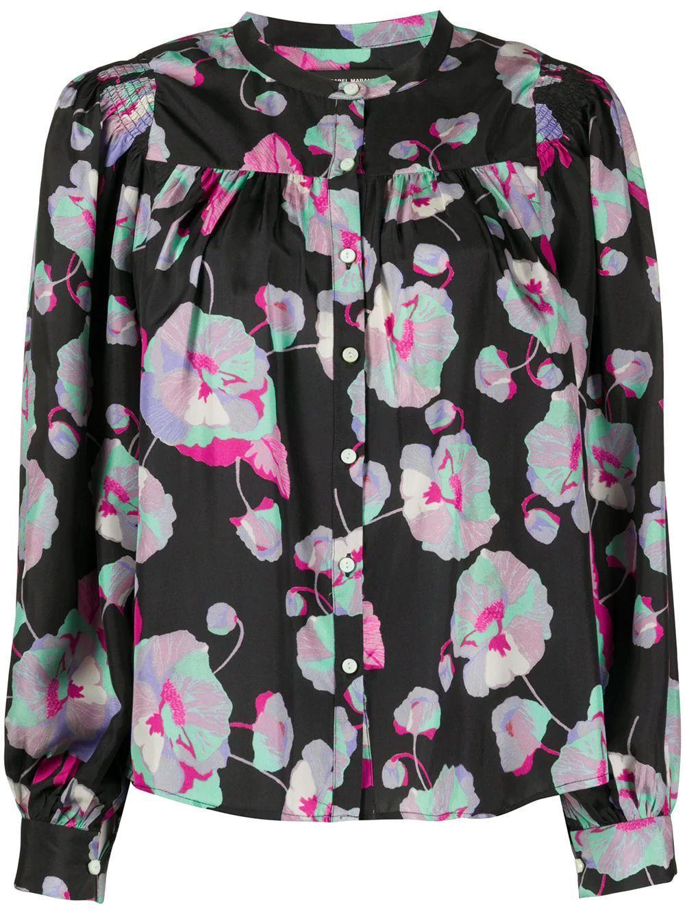 Long Sleeve Printed Silk Blouse Item # RITONEA