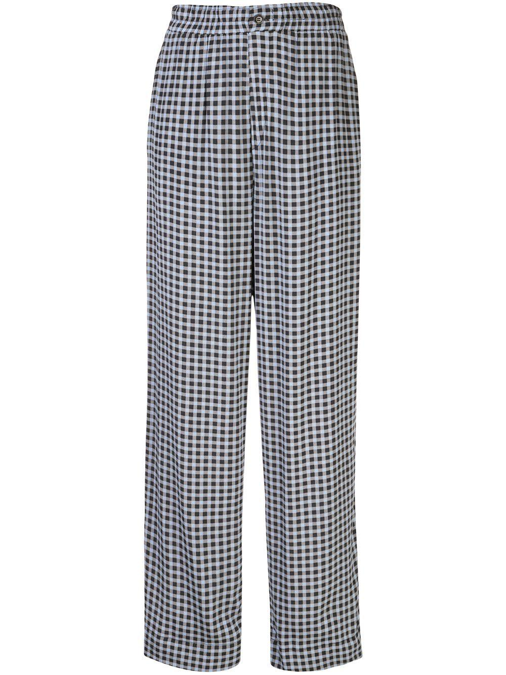 Printed Crepe Gingham Trouser