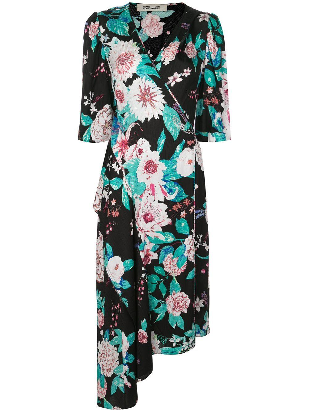 Audrina 3/4 Sleeve Floral Asymmetric Hem Dress Item # 14431DVF