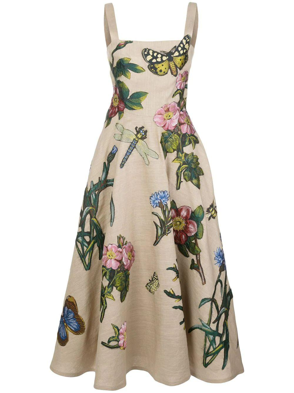 Floral Midi Dress With Full Skirt